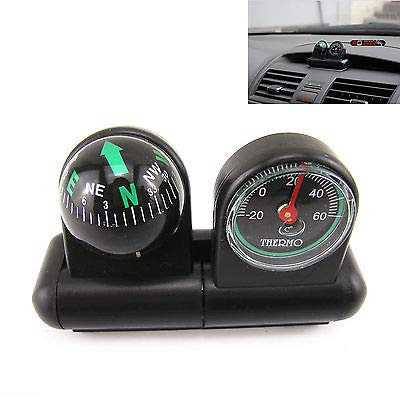 FidgetFidget Compass and Thermometer Universal Van Truck Trailer 2 in 1 Removable CAR Black