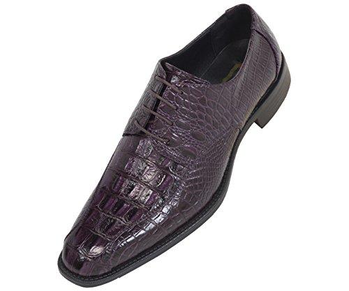 Bolano Mens Purple Classic Round Toe Exotic Faux Croco Printed Oxford Dress Shoe : Style Elmhurst Purple-049