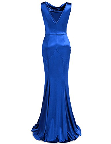 Damen Blue Bright Maxi Party Retro MUXXN Cocktailkleid 1950er Lange Kleid vqAdRdw