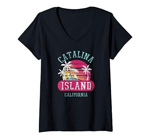 Womens Retro Cool Original Catalina Island CA Distressed Novelty  V-Neck T-Shirt