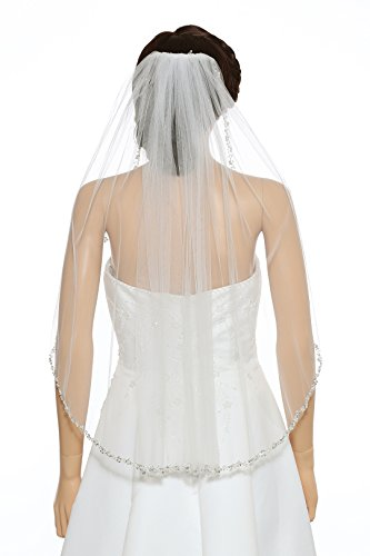 - 1T 1 Tier Pearl Silver Beads Flower Bridal Veil - Ivory Elbow Length 30