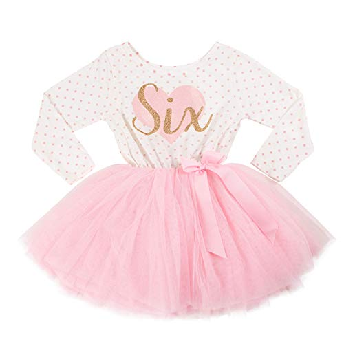Grace & Lucille 6th Birthday Dress (Long Sleeve) (6T, Pink Polka Dot Long Sleeve Flat Pink Heart Gold)