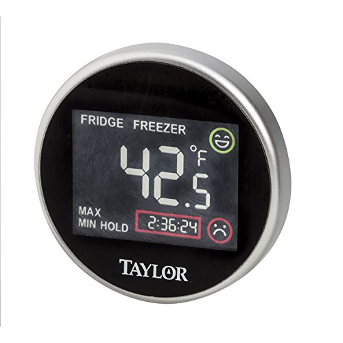 Taylor Digital Fridge/Freezer Thermometer with Time Monitor (Black)