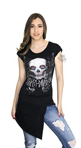 Harley-Davidson Womens Creepin Winged Skull Cut Front Tunic Black Shirt (Medium) ()