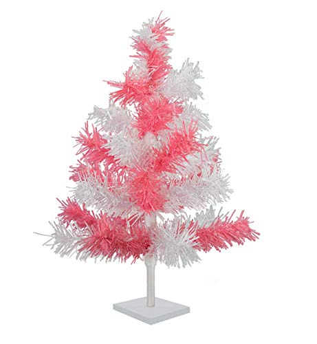 EST. LEE DISPLAY L D 1902 18'' Pink & White Christmas Tinsel Tree Easter Tree Retro Style Soft White Barbie Pink Feather Tinsel Tree (L Christmas E Tree D)