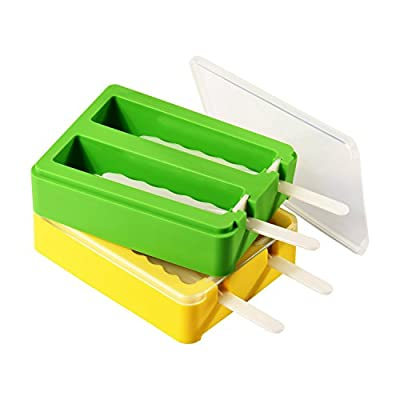 Popsicle Molds, ULuck Silicone Popsicle Molds Popsicle Maker Ice Pop Molds with 2 Lids and Sticks - Set of 2 - BPA Free - DIY Ice Cream Maker For Kids - Yellow and Green