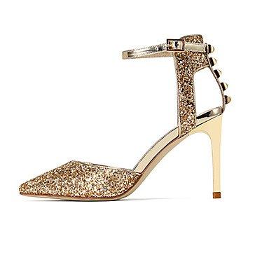 NVXZD Mujer Sandalias Zapatos del club Sintético Verano Vestido Lentejuela Remache Hebilla Tacón Stiletto Dorado Plata Azul Oscuro 10 - 12 cms Silver