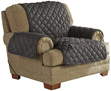 Serta Quilted Ultra Suede Waterproof, Pet Safe & Stain Resistant Furniture Protector, Chair, Graphite