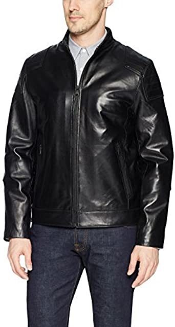 Campaign Black Mens Leather Packable Down Filled Puffer Jacket