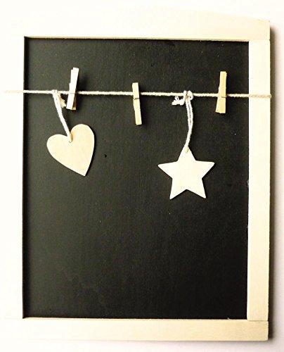 Tabla pizarra con cuadro de madera + 3 pinzas de madera ...
