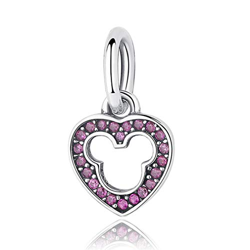 MIADEAL Mickey Minnie Mouse Charm, Pink, Sterling Silver, Pandora ()
