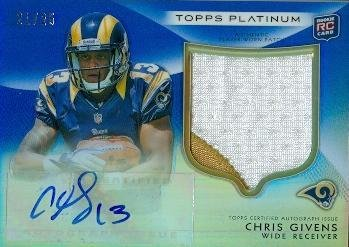 (Chris Givens autographed player worn jersey patch football card (St Louis Rams 67) 2012 Topps Platinum #127 Rookie Refractor)