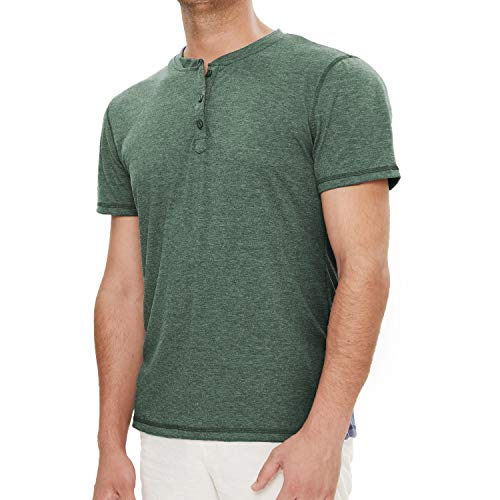 (SALNIER Mens Casual Henley Shirt Slim Fit T Shirts Cotton Shirts Short Sleeve (Army Green, L) )