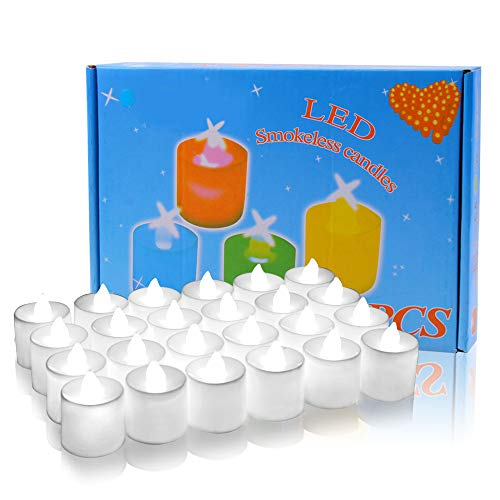 ELlight 24 PCS (2 Dozen Pack) Battery Operated Candles Flameless LED Tealight Candles Votive Style Romantic Date, White Light