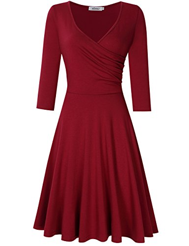 MISSKY Women V Neck A Line Slim Fit and Flare Short Sleeve and Long Sleeve Swing Cocktail Vintage Summer Dress (S, Wine Long Sleeve)