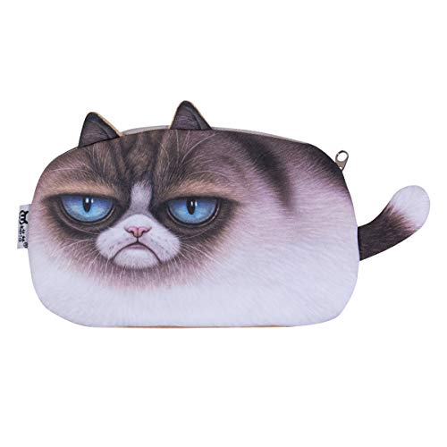 (RUSTAM HASHYMOV Plush 3D Printing Cat Face Coin Purse Pencil Case Make Up Cosmetic Bag Animal Cartoon Case Wallet (White,)