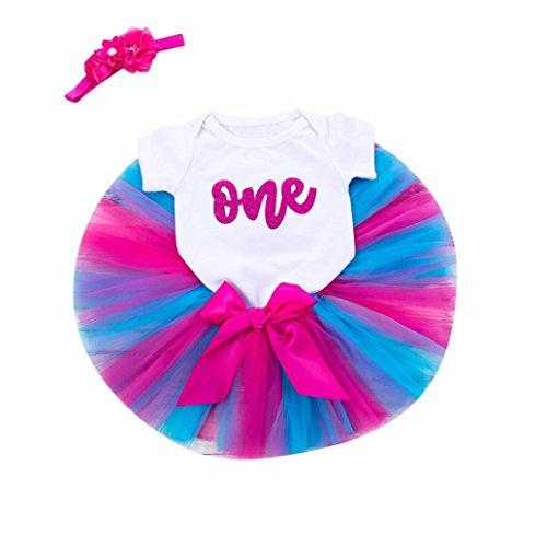 Rucan Girl Newborn 1st Birthday 3 Pcs Outfits Romper+Tutu Dress+Headband (a3, 6-12 Months)