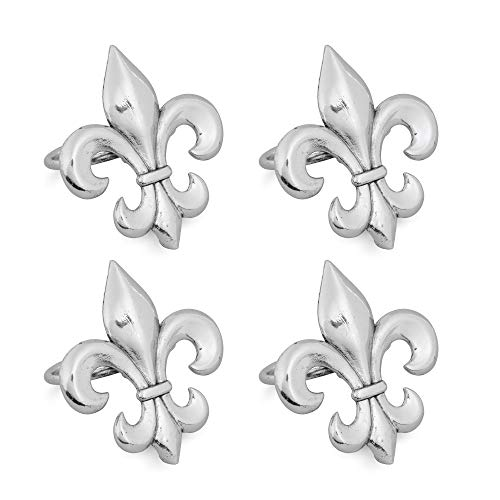 - Supreme 4-Piece Fleur-de-lis Zinc Alloy Napkin Rings for Wedding Decorations, Banquet, Birthday, Dinner, Holiday Parties, Family Gatherings