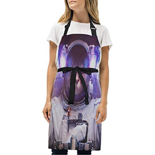Womens Aprons Cat Outer Space Kitchen Bib Aprons with Pockets Adjustable Buckle on Neck