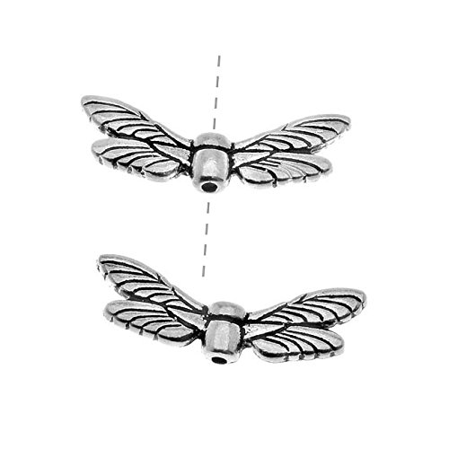 TierraCast Fine Silver Plated Pewter Dragonfly Wing Beads 20mm (2)