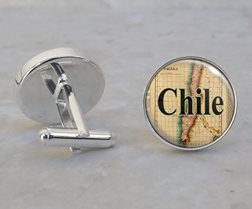 (Chile 1822 Map Sterling Silver Cufflinks)