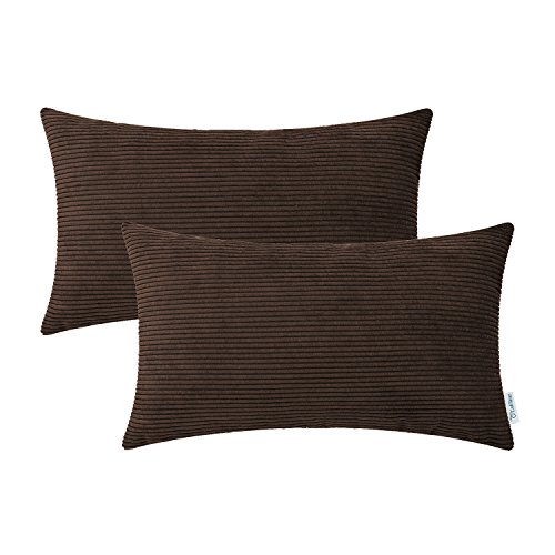 Pack of 2 CaliTime Cozy Bolster Pillow Covers Cases for Couch Bed Sofa, Ultra Soft Corduroy Striped Both Sides, 12 X 20 Inches, Coffee Corduroy Accents