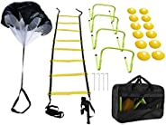 Speed & Agility Training Set - Includes Agility Ladder with Drawstring Bag, 12 Disc Cones, 4 Adjustable Hu