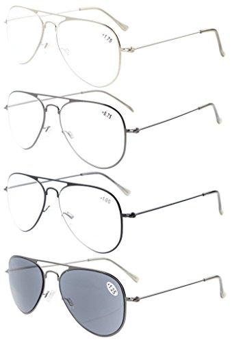 4-pack Eyekepper Classical Stainless Steel Frame Pilot Style Reading Glasses include Sun Readers - Mens Frames Glasses Styles