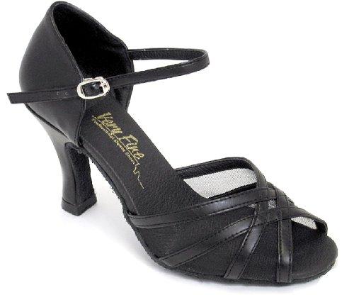 Sehr feine Frauen Salsa Ballroom Tango Latin Dance Schuhe Stil 6027 Bundle mit Kunststoff Tanzschuh Ferse Protektoren Schwarzes Leder