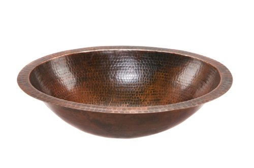 Premier Copper Products LO19FDB Oval Under Mount Hammered Copper Bathroom Sink, Oil Rubbed Bronze ()