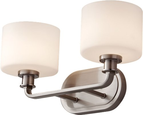 Feiss VS29002-BS Kincaid Glass Wall Vanity Bath Lighting, Satin Nickel, 2-Light (16