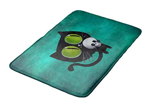 Aomsnet Black Halloween cat with Skull Bathroom Decor Mat, Shower Rug Mat Water Absorbent Fast Drying Kitchen, Bedroom, Hotel, Spa Tub.24 L X 16