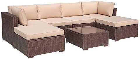 Patiorama 7 Piece Outdoor Furniture, All Weather Brown Wicker Sectional Sofa Set with Corner Sofa Chair Ottoman Table, Beige