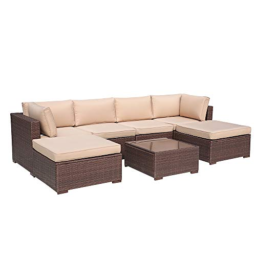 Patiorama 7 Piece Outdoor Patio Conversation Sets, All Weather Wicker Patio Sectional Sofa Set with Corner Sofa Chair Ottoman Table, Beige