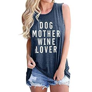 Dog Mom Tank Top for Womens Cute Wine Lover Shirt Summer Sleeveless Shirt Tank