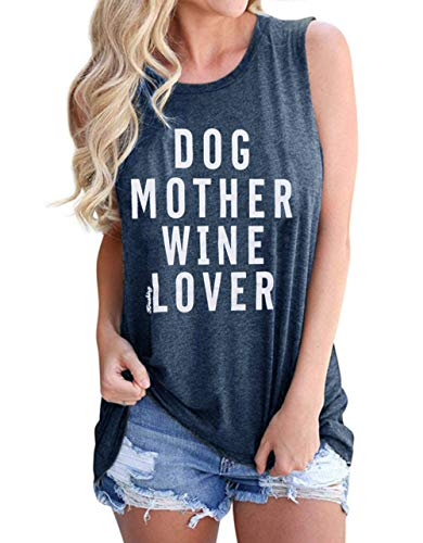 (Women's Summer Letters Print Sleeveless T-Shirt Dog Mother Wine Lover Tank Top Size US S/Tag M (Gray))