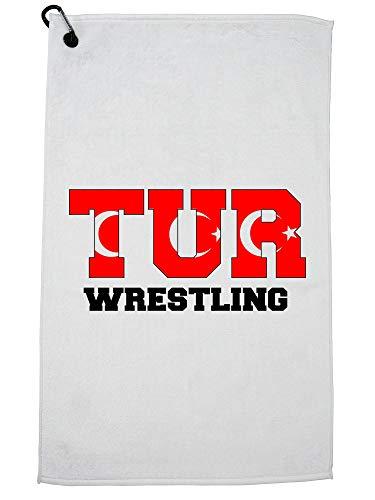 Hollywood Thread Turkey Wrestling - Olympic Games - Rio - Flag Golf Towel Carabiner Clip by Hollywood Thread