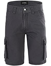 Men's Cotton Pigment Dyeing Outdoor Casual Cargo Shorts