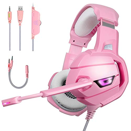 Pink Gaming Headset with Mic for PS4, Xbox One, PC, Mobile Phone, Stereo Surround Sound Noise Canceling Headphones with LED Light Mic, Mute Volume Control