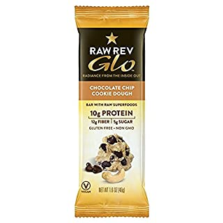 Raw Rev Glo Vegan, Gluten-Free Protein Bars - Chocolate Chip Cookie Dough 1.6 ounce (Pack of 36)