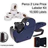 Perco 2 Line Price Gun Labeler Kit - Includes 2 Line Pricing Gun, 10,500 Plain White Labels, and Preloaded Inker