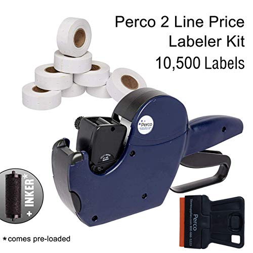 Perco 2 Line Price Gun Labeler Kit - Includes 2 Line Pricing Gun, 10,500 Plain White Labels, and Preloaded Inker ()