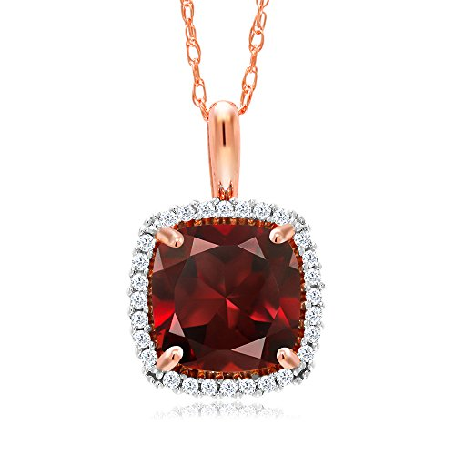 Gem Stone King 10K Rose Gold Red Garnet and White Diamond Pendant Necklace 2.05 Ctw Cushion Cut with 18 Inch Chain