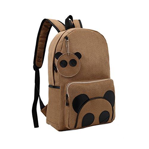 LEORX Panda Muster Rucksack Rucksack Schultasche Schultern Reisetasche (Hellbraun)