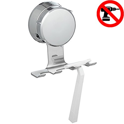 Home So Razor Holder with Suction Cup Hanger - Antibacterial Bathroom Organizer holds up to 3 Razors Shavers - Stainless Steel Chrome - Removable Reusable Stick on Bathroom Mirror or in Shower - Rustic Porcelain Tile