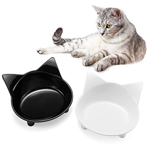 (SHU UFANRO Cat Bowls Cat Food Bowl Non Slip Cat Dish Double Cat Feeding Bowls for Whisker Stress Relief Pet Food & Water Bowls)