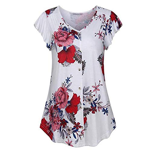 Women Floral Print Tunic Tops Button Up Short Sleeve Summer T Shirt Blouse