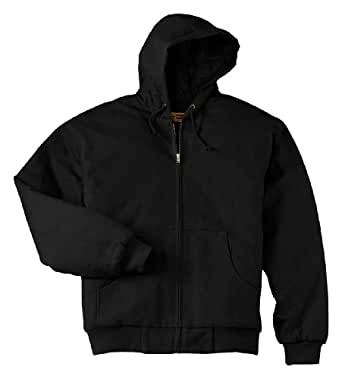 Cornerstone Heavyweight Full Zip Hooded Sweatshirt with Thermal Lining, XL, Black