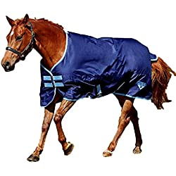 Saxon 600D Standard Neck Lite Turnout Blanket, Navy/Light Blue, Size 81