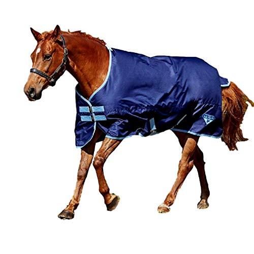 (Saxon 600D Standard Neck Lite Turnout Blanket, Navy/Light Blue, Size 78)